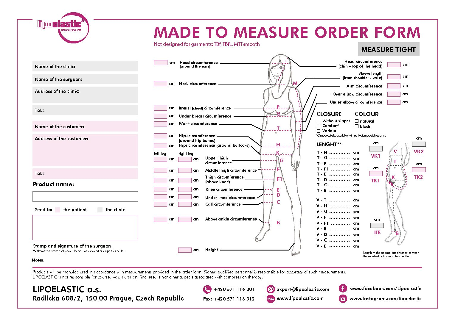 MTM – Made to measure order form